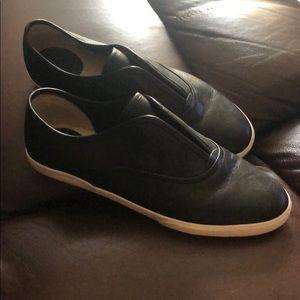 Black leather Frye slip on shoes